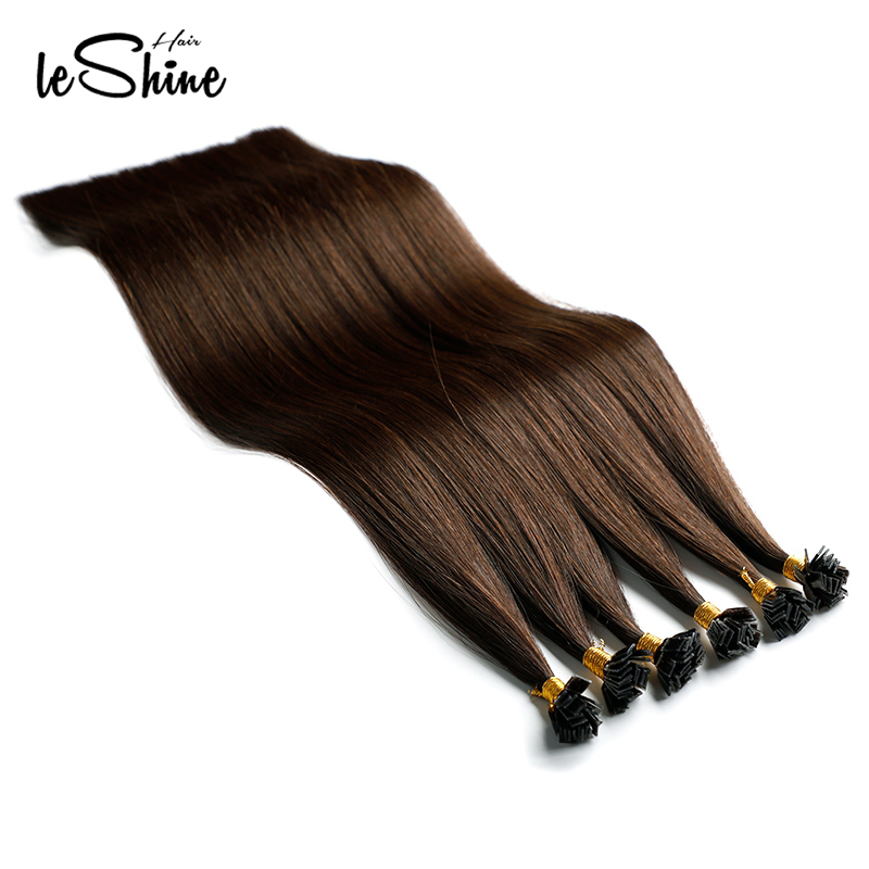 Leshine Invisible Flat Tip Hair Extension Fusion Keratin Hair Human Hair Extensions Brailian Silky Straight Hair Remy Hair Brown