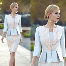 2021 Cheap Appliqued Mother Of The Bride Dresses With 3/4 Sleeves Peplum Wedding Guest Dress Knee Length Plus Size Jacket Mothe