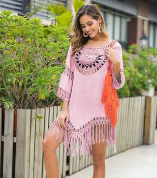 2020 Sexy Lace Hollow Crochet Beach Cover Up Women Bikini Cover Up Beach Dress Tunics Swimsuit Bathing Suits Cover-Up Beach wear 9
