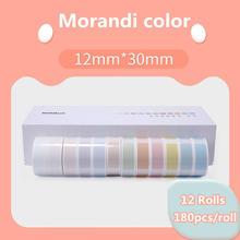 12 rolls Label Printer Paper Label Waterproof Anti-Oil Prince Label Pure Color Scratch-Resistant Label Sticker Paper