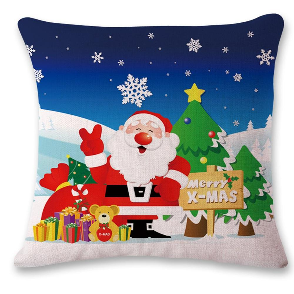 Christmas Gift Winter Snowman Cartoon Cotton Hug Pillowcase Fashion Christmas Design Cotton Linen Pillow Cover 3