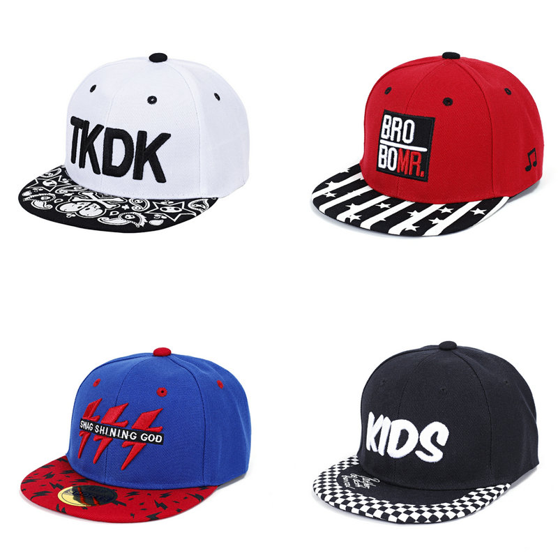 Embroidered Hip Hop Cap For Boy&Girl Unisex Children Letter Snapback Cap Kids Baseball Cap Sun Hat For 3-8 Years Old