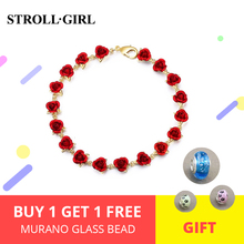 StrollGirl rose gold bracelet romantic red enamel Jewelry for women gift free shipping support wholesale 2019 new arrivals