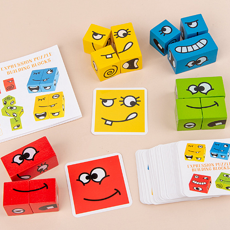 Wooden Face-Changing Cube Building Blocks Expressions Matching Block Puzzles Building Cubes Toy for Kids Preschool Ages 3 Years and Up,Face-Changing Rubiks Cube Building Bloc, Game Toy for Fun