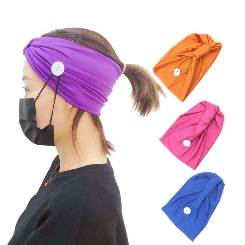 Women Print Headbands Mask Partner Customized Anti-leak Mask Hair Band Bow Elastic Band Hair Band Side Button Hair Hoop
