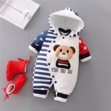 Macacão de inverno para bebês, macacão de algodão grosso para meninos e meninas, quente para outono, roupa infantil para subir