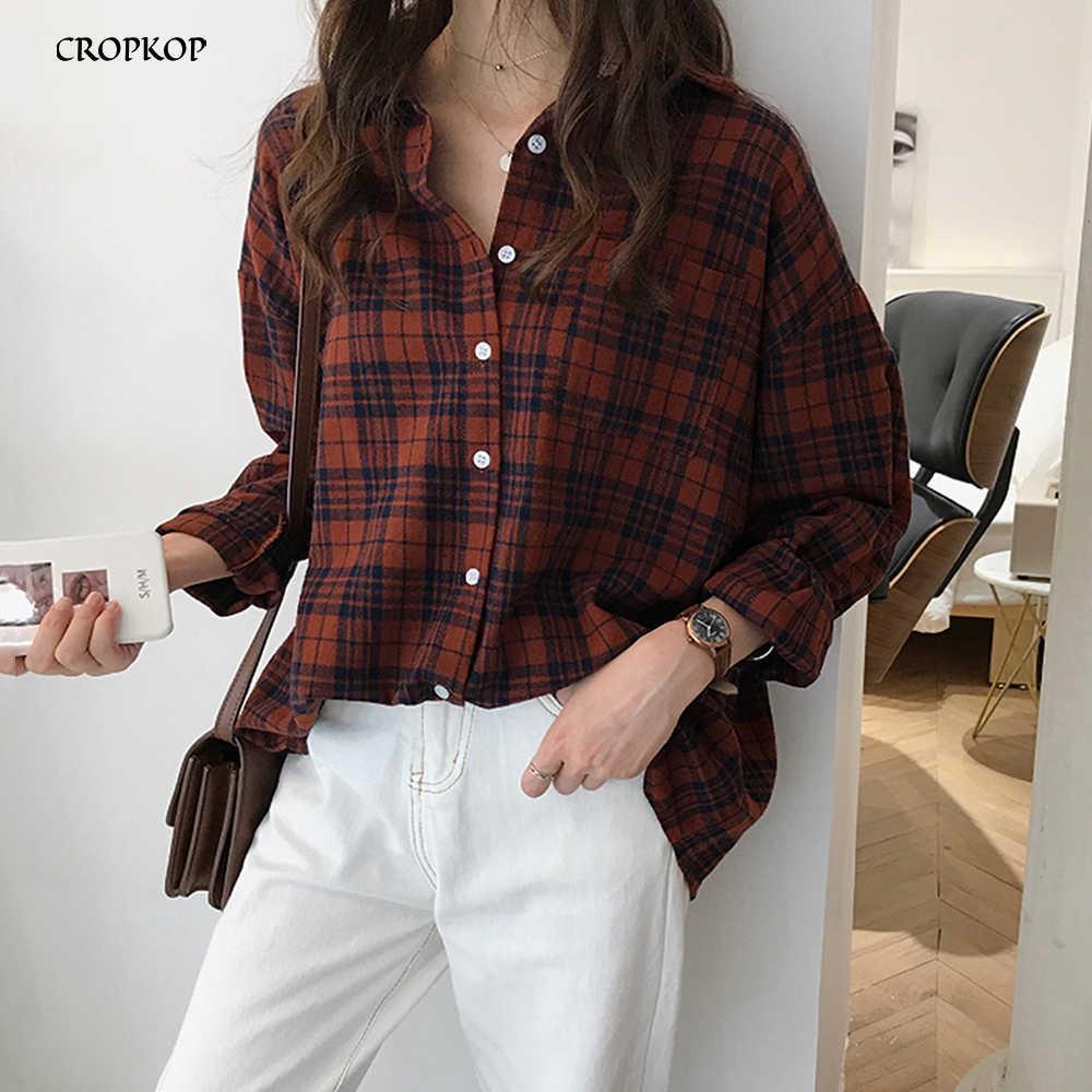 Plus Size Women Blouses Korean Style Vintage Plaid Shirts Tops