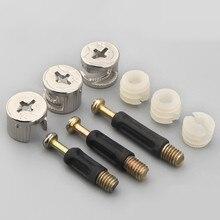 100 conjuntos de parafuso conector móveis parafuso 6mm rosca macho 40mm comprimento