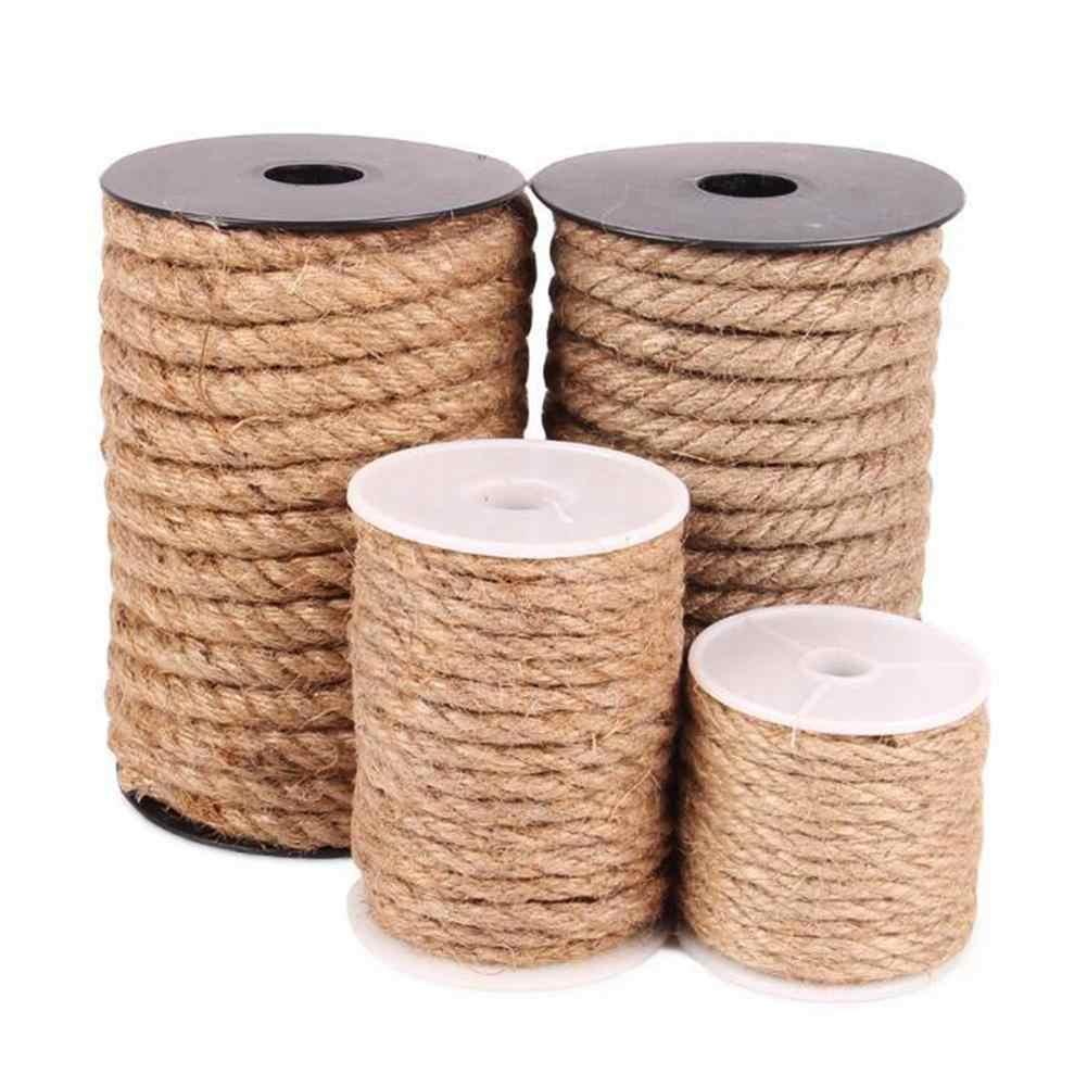 10M naturalny sizal liny dla koci plac zabaw DIY ręcznie robione 4-10MM lina z juty lampa dekoracji liny wiążące liny konopne do pakowania