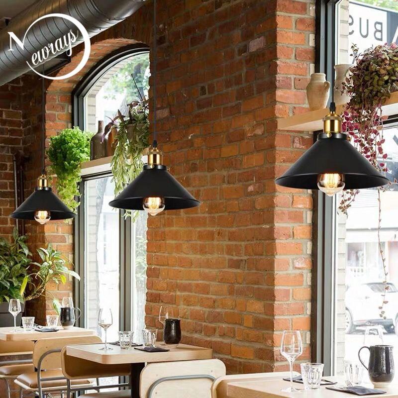 Industrial Retro Iron Interior Decoration LED Pendant Light Bedroom Kitchen Restaurant Bar Balcony Small Umbrella Pendant Lamps