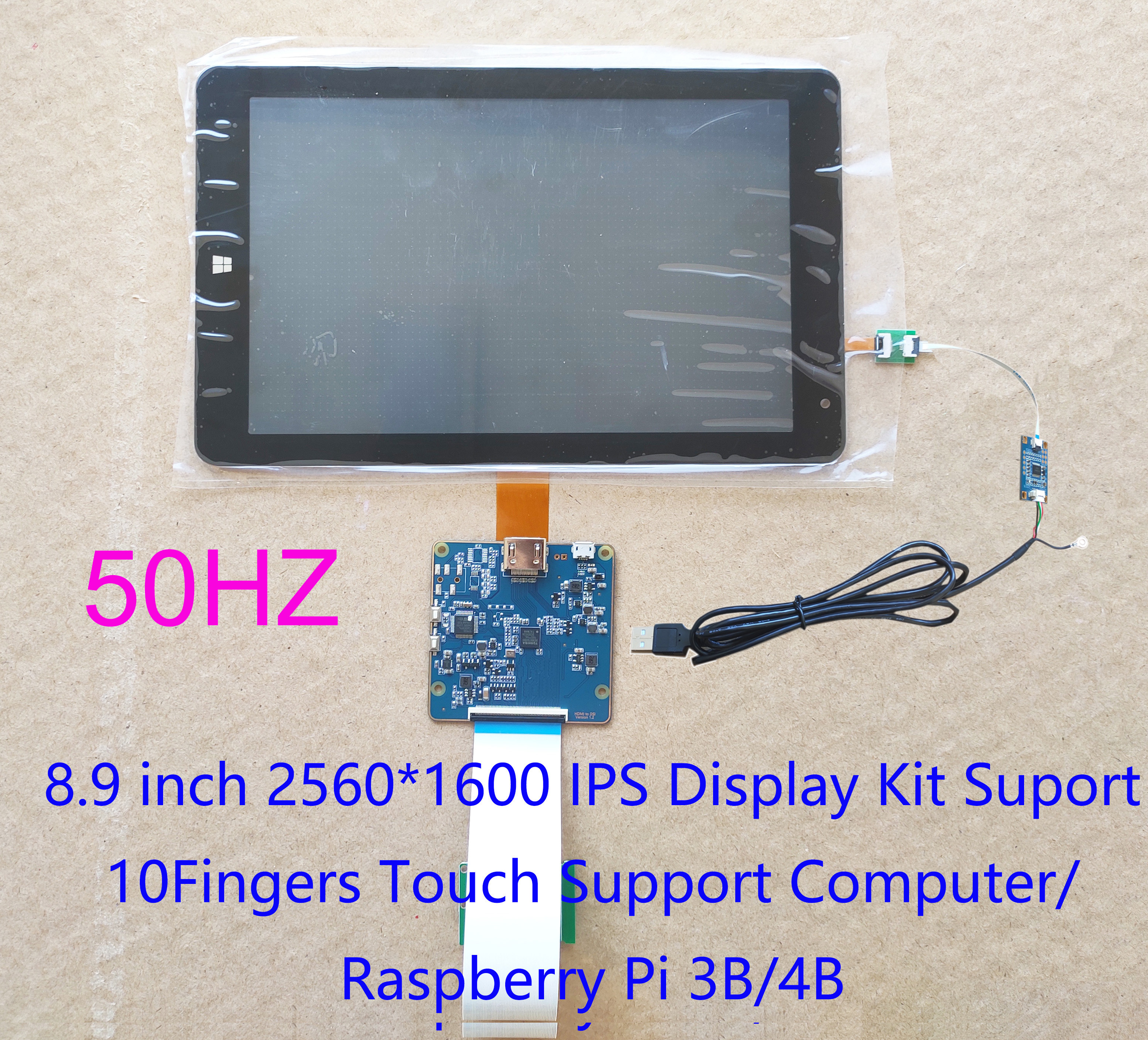 8.9 Inch TFTMD089030 2560*1600 2K HD Display Kit MIPI To HDMI Supports Raspberry Pi 3/4 USB Capacitive Touch Screen Digitizer