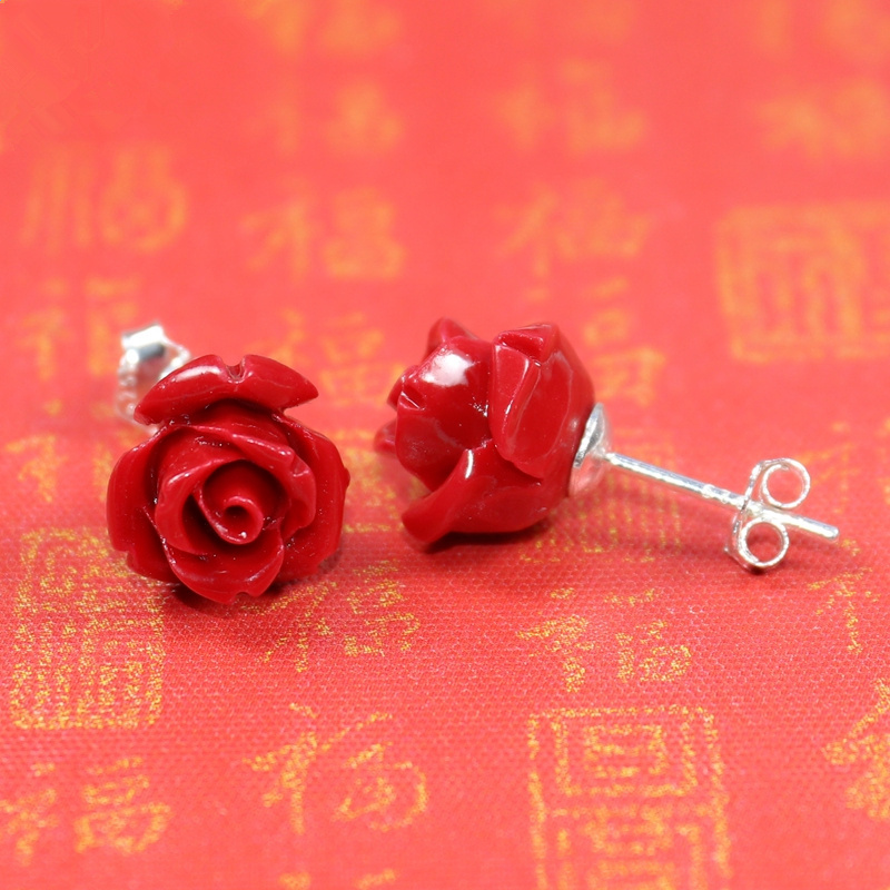 HOT new 2020 Artificial coral stone stud earrings with red roses and sterling-silver-jewelry Free to send fine jewelry box(China)