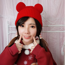 Lovely Concise Cat Ears Wool Hat Winter Hats For Women Keep Warm Solid Color Knitting Cap Tide Pompom Gorro Bonnet Femme korean version spring and winter gorro cap lady s fashion drape delicate women hats 3 solid color high quality free shipping hot