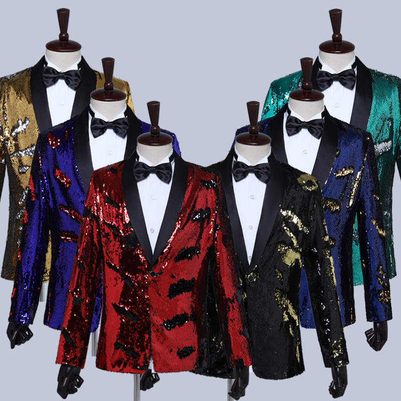 Men Shiny Sequin Blazer Wedding Slim Fit Dress Stage Performance Coat Nightclub Bar DJ Male Singers Suit Jacket Costumes DT1472
