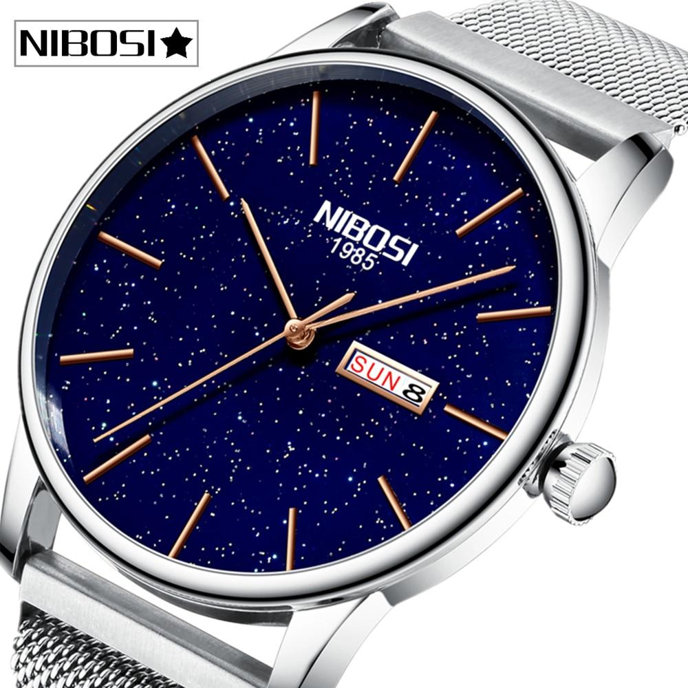 2020 NIBOSI Fashion Men Watches Top Brand Luxury Couple Watch Casual Slim Mesh Steel Waterproof Wrist Watches Relogio Masculino