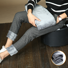 Зимние новые мужские тонкие теплые повседневные брюки бизнес мода классический стиль хлопок стрейч плотные брюки мужская одежда