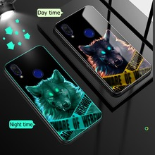 Case for Xiaomi Redmi Note 7 8 Pro Tempered Glass Case Luminous Shockproof Luxury Glass Cover for Xiaomi Redmi Note 8 7 Case tempered glass case for redmi 7a note 7 pro redmi note 7 case glossy xiaomi redmi 7 note 7 glass case protective cover luxury