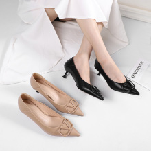 2020 Summer Woman Pumps Thin High Heels Point Toe Slingbacks Solid Flock Office Ladies Work Sexy Dress Sandals Wedding Heels