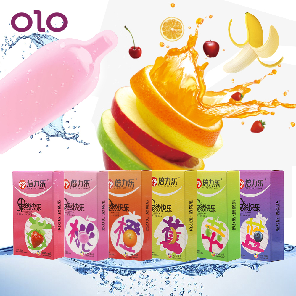 OLO 10 Pcs/Box Lubricated Condoms 6 Kinds Fruit Smooth Cock Condom Sex Toys for Men Ejaculation Delayed Ultra Thin