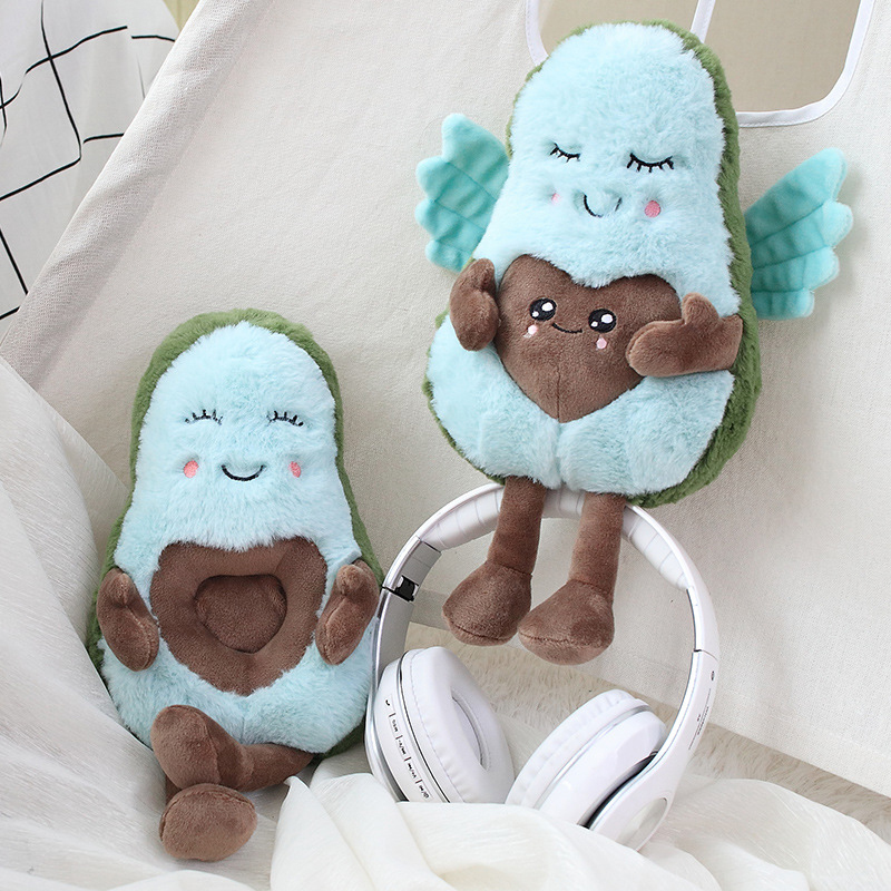 2020 New Creative Hot Valentine's Day Gifts Love Confession Angel Wings Concave Heart Shaped Avocado Doll Plush Toy For Children