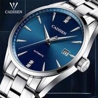 자동 기계 남자 시계 CADISEN 최고 브랜드 럭셔리 남자 비즈니스 철강 시계 남자 군사 방수 시계 Reloj Hombre