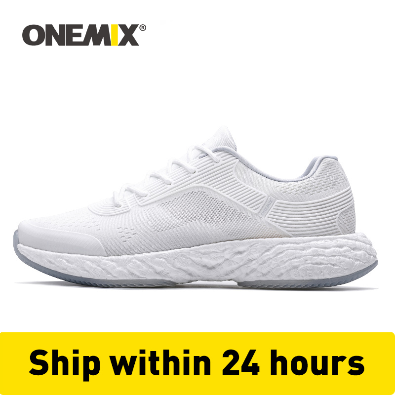 ONEMIX White Sneakers Running Shoes For Men Soft Sneakers Marathon Running Shoes Walking Sneakers Travel Treckking Footwear