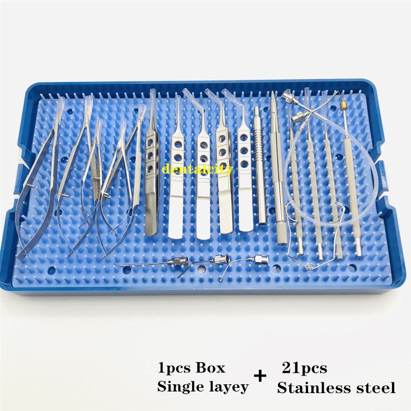 Image 4 - Ophthalmic Cataract Set surgical kit Eye Micro Surgery with sterilization tray box case 21PCSEyelid Tools   -