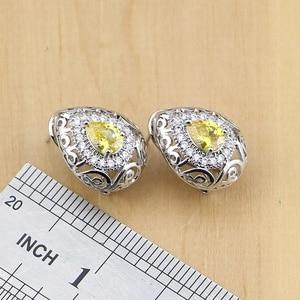 Image 4 - Drop 925 Sterling Silver Jewelry Yellow Cubic zirconia Jewelry Sets For Women Earrings Pendant Rings Bracelet Necklace Set