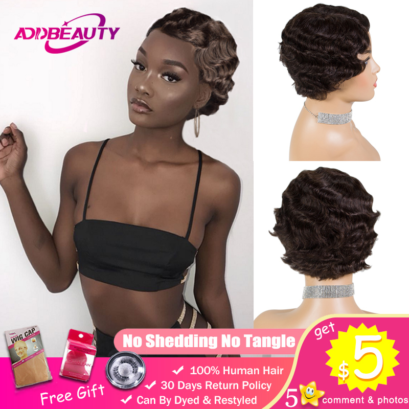 Short Bob Pixie Cut Wig 1920's Flapper Hairstyles For Black Women Remy Human Hair Finger Wave Retro Style Wig Cosplay