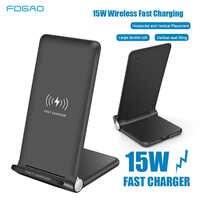 15W rápida cargador inalámbrico Qi para iPhone 11 Pro X XS X Max Xr 8 Samsung S10 S9 S8 nota estación de carga inalámbrica 9 10