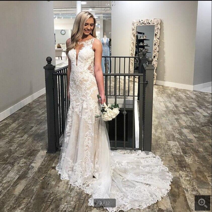 2020 New Champagne Mermaid Wedding Dress Scoop Neck Backless Lace Appliques Sleeveless Elegant Vestido De Novia Bridal Gown