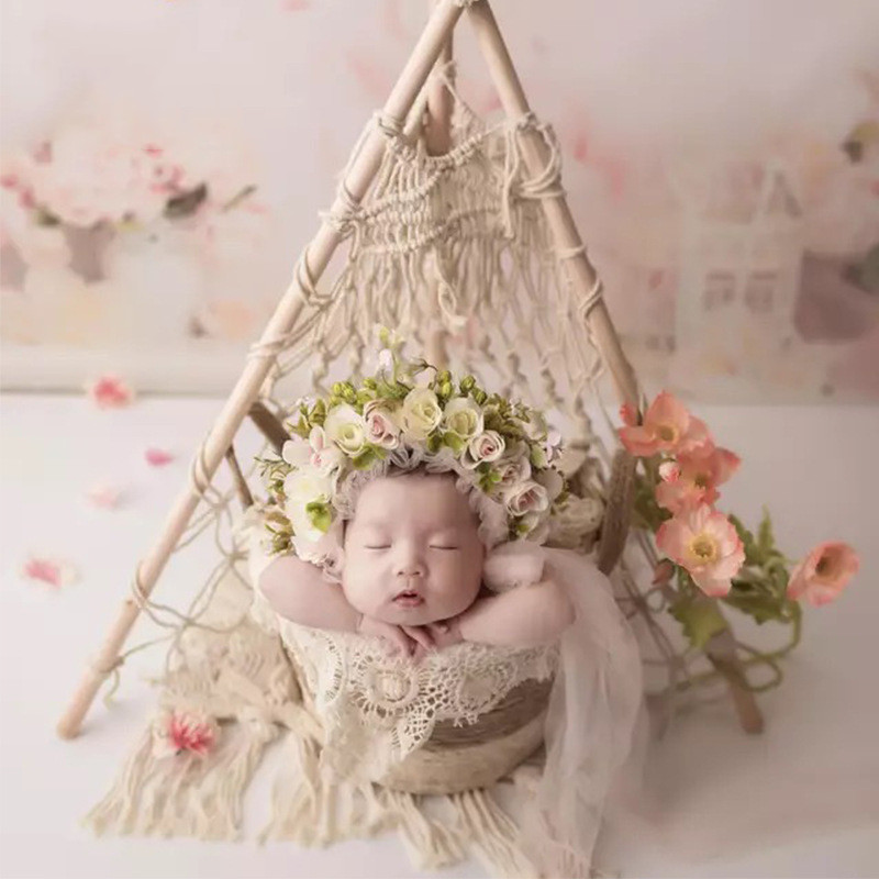 Newborn Photography Props Baby Shooting Tent Theme Boho Beige Lace Prop Flower Hat Infant