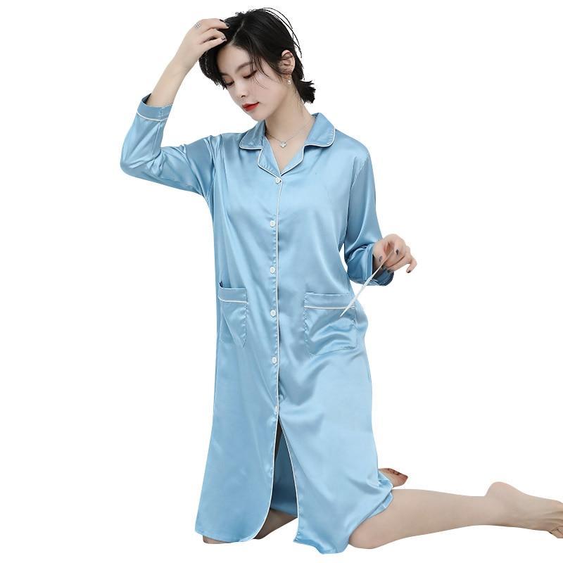 CAIYIER 2020 Silk Nightgown Sexy Lace Sleepwear Long Sleeve Turn-down Collar Night Dress Lingerie Bathrobe Gown Large Size M-3XL 5