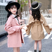 купить Windbreaker for Girls 2019 Spring Autumn Fashion Korean Kids Long Trench Jacket Coat Children's Bow Belt Loose Outwear Clothing дешево