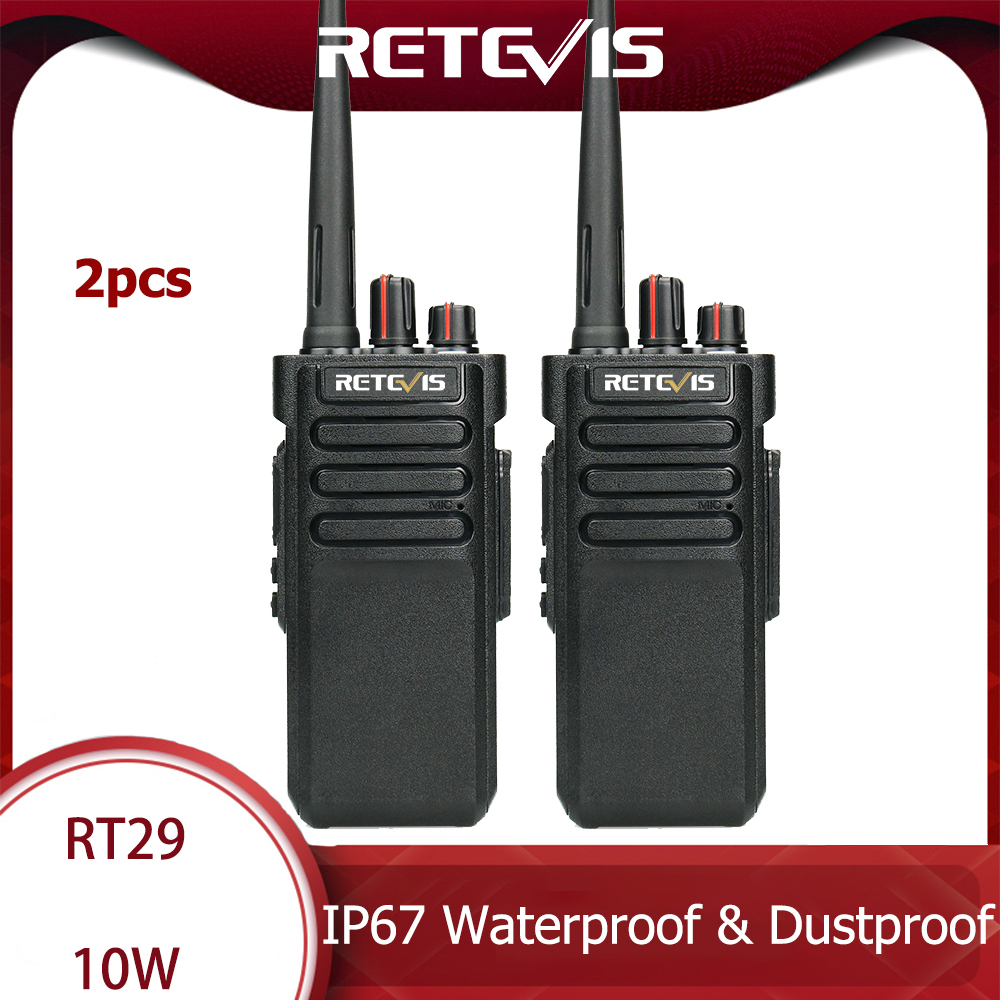 A Pair High Power Retevis RT29 Walkie Talkie IP67 Waterproof UHF400-480MHz VOX TOT Scan 2 Way Radio HF Transceiver+Program Cable