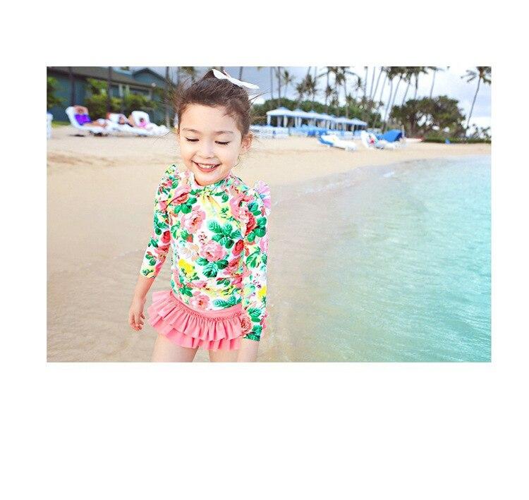 Haiyishan 2018 New Style Children Bathing Suit Skirt Split Type Long Sleeve Sun-resistant GIRL'S Children Big Kid Bathing Suit