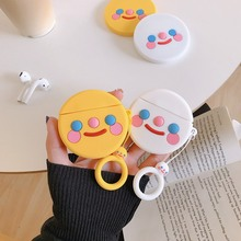 3D Smile Earphone Case For Apple Air pods Cute Animals Cartoon Headphones Cover Airpods 2 Earpods Hand ring