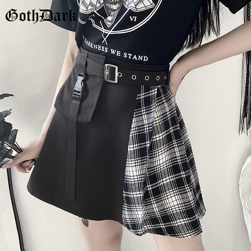 Goth Dark Vintage Gothic Harjauku Women Skirts Plaid Pocket Spring 2020 Buckle Egirl Grunge Punk Skirt Patchwork Egirl Chic Emo