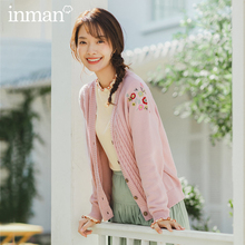 INMAN 2020 ฤดูใบไม้ผลิใหม่วรรณกรรมบริสุทธิ์และสด V line COLLAR ปัก Single breasted ถัก Cardigan