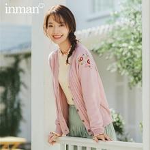INMAN 2020 wiosna nowy nabytek literacki czysty i świeży kołnierzyk w kształcie litery V haftowany jednorzędowy sweter dziergany