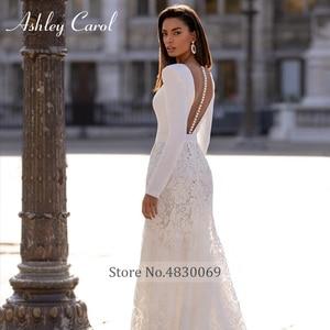 Image 4 - Long Sleeve Lace Mermaid Wedding Dresses 2020 Elegant Satin V neck Sashes Appliques Ashley Carol Bride Gown Vestido De Noiva