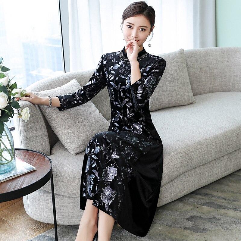 Новый женский черный темперамент печати дна платье девять рукав платье - 3