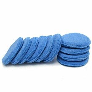 Image 4 - 10 pçs 5 Polegada 125mm almofadas de polimento de carro espuma de cera esponja limpeza de microfibra almofada de polimento