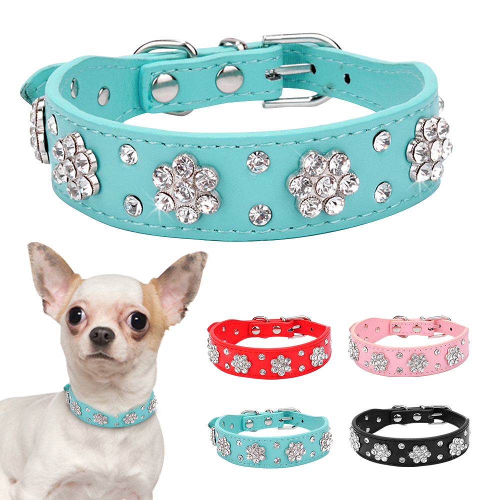 Rhinestone PU Leather Dog Collar Fashion Pet Puppy Necklace Bling Crystal Studded Cat Collars Pink Red For Small Medium Dogs D40 in Collars from Home Garden