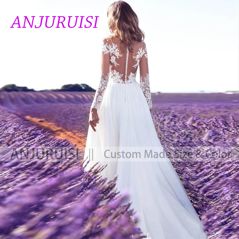 ANJURUISI Cheap Lace Long Sleeve Wedding Dress 2019 Beach Bridal Gown Chiffon Lace Appliques White/lvory Romantic Buttons Turkey 1