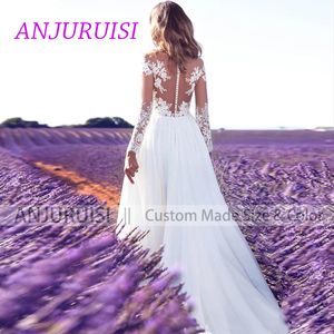 Image 2 - ANJURUISI Cheap Lace Long Sleeve Wedding Dress 2019 Beach Bridal Gown Chiffon Lace Appliques White/lvory Romantic Buttons Turkey