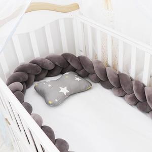 3 м Длина детский бампер кровать узлом оплетки на диванную подушку, детская кроватка бампер Защита украшения детской комнаты для детского п...