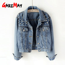 GareMay 2019Vintage Pearl Beading Short Denim Jackets Women blue Wash Long Sleeve Casual Jean Jacket Bomber Denim Coat Plus Size(China)