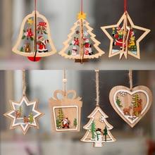 1 قطعة جديد شجرة عيد الميلاد الحلي معلقة شجرة عيد الميلاد ديكور المنزل ديكور ثلاثية الأبعاد المعلقات عالية الجودة قلادة خشبية اللون الديكور