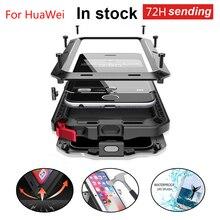Coque de Protection robuste en aluminium pour téléphone + verre trempé pour HuaWei P30 housse anti poussière antichoc